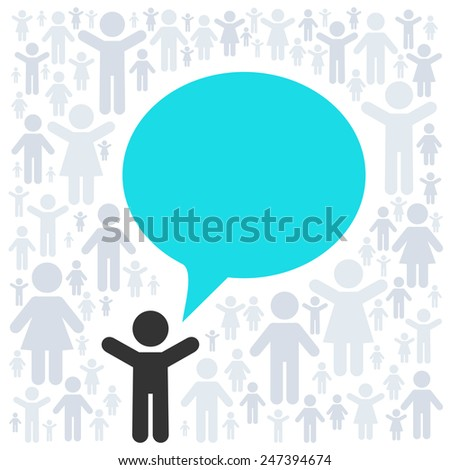 Vector concept - idea. People pictogram and empty text bubble - stock vector