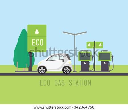Vector concept illustration, flat eco design. Green energy, urban landscape, windmill, car, ecology - stock vector