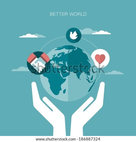 vector concept illustration of better world - stock vector