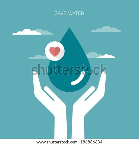 vector concept illustration of hands holding water drop - stock vector