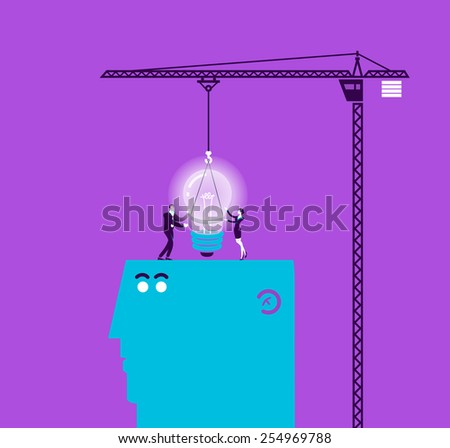 Vector concept illustration of light bulb and gift - Modern colors. Creative Bussiness illustration. Eps 10 - stock vector