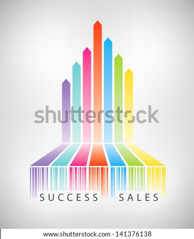 Vector concept illustration of rainbow arrows up from colorful barcode showing successful e-commerce sales. Isolated on light gray background. - stock vector