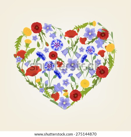 Vector concept illustration with colorful wildflowers on beige background. I love wildflowers. Signs and symbols in heart shape.  - stock vector