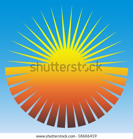 Vector concept image of the sun on a blue background - stock vector