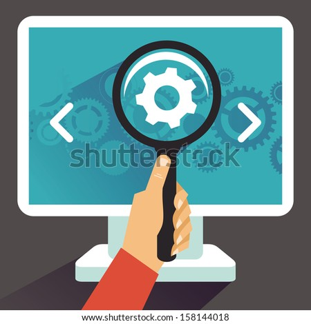 Vector concept in flat retro style -  programming code - stock vector
