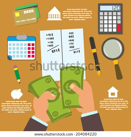 vector concept in flat style - track your income and expense. budgeting. infographic.  - stock vector