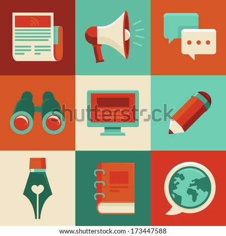 Vector concept in flat style with trendy icons - blogging and writing for website - stock vector