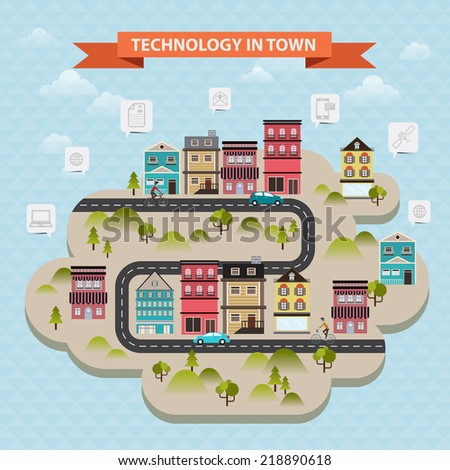 vector concept internet and communication technology in city - stock vector