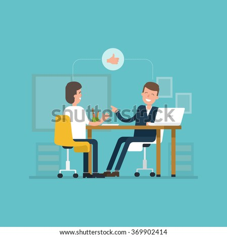 Vector concept interviews by the candidate in flat style. Jobseeker and employer sit at the table and talk. Good impression. Thumbs up! Simple concept with working situation, recruitment or hiring. - stock vector