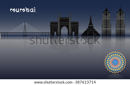 Vector Concept Mumbai Illustration, ep10 Vector, Transparency Used, Raster Version Available - stock vector