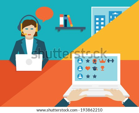 Vector concept of customer experience and reward - vector illustration - stock vector