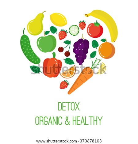 Vector concept of detox logotype in trendy flat style. Fruits and vegetables in heart shape.
