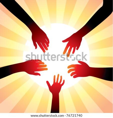 vector concept of friendly hands around sun - stock vector