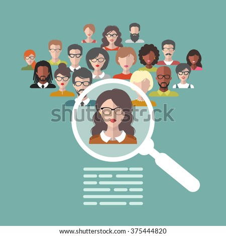 Vector concept of human resources management, professional staff research, head hunter job with magnifying glass. Human resources illustration in flat style. - stock vector