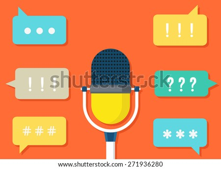 Vector concept of intarction and support. Remote consultation - vector illustration - stock vector