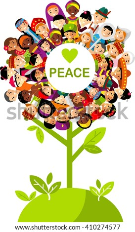 Vector concept of international people children tree Set of vector illustration multicultural national people in traditional costumes