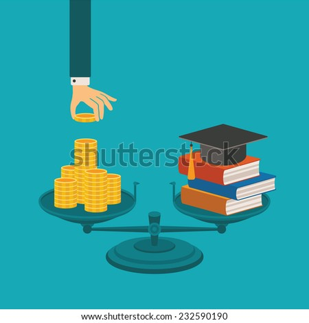 Vector concept of investment in education with coins books and scales - stock vector