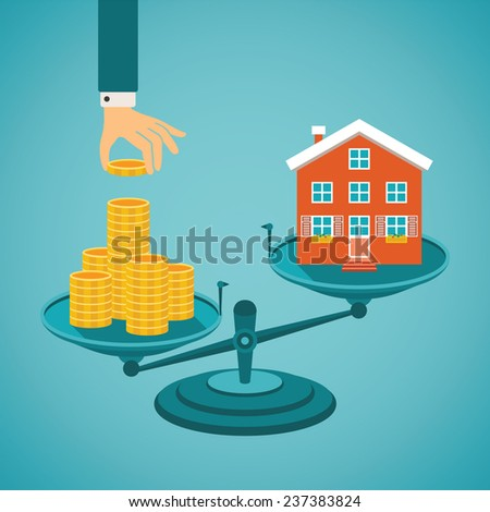 Vector concept of investment in real estate like townhouse - stock vector