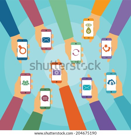 Vector concept of modern mobile wireless technology like chat cloud storage mail gps photo social network and content search - stock vector