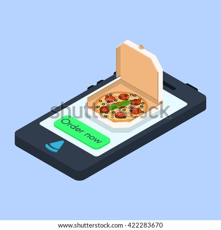 """Vector concept of online pizza order. Isometric smartphone with the button """"Order now"""". Food pizza delivery service. - stock vector"""
