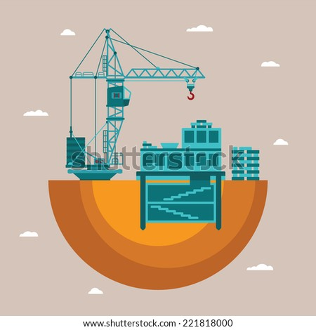 Vector concept of residential house construction process with crane and underground utilities - stock vector