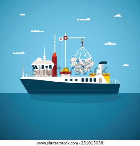Vector concept of river ocean and sea fishing boat - stock vector