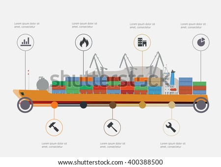 Vector concept of river ocean and sea freight shipping by water.  - stock vector