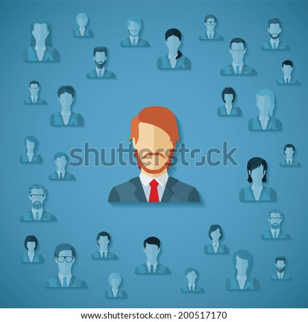 Vector concept of searching for professional stuff, head hunter job, employment issue, human resources management or analysing personnel resume. - stock vector