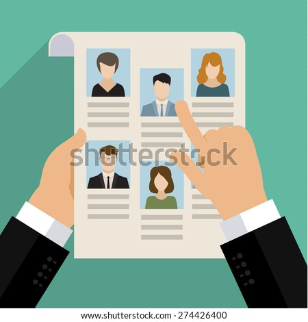 Vector concept of searching for professional stuff, head hunter job, employment issue, human resources management or analysing personnel resume. Flat design - stock vector
