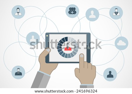 Vector concept of searching for professional stuff, human resources management or analysing personnel resume. Eps10 vector for your design - stock vector