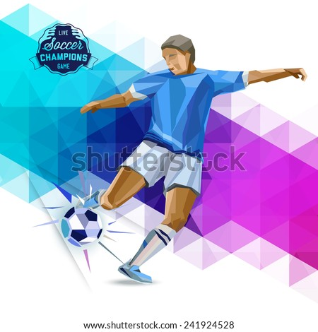 Vector concept of soccer player with geometric background and geometric figures combination of different colors.  Creative football design with labels for you. - stock vector