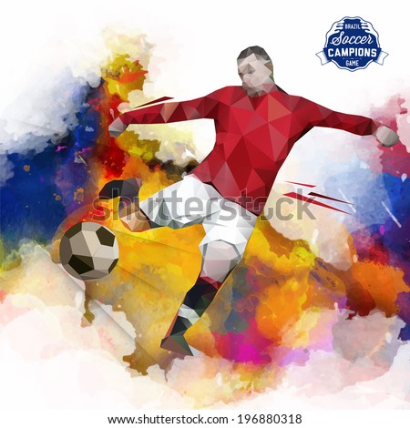 Vector concept of soccer player with watercolor background and geometric figures combination of different colors.  Creative football design with labels for you.Label separate from background. - stock vector