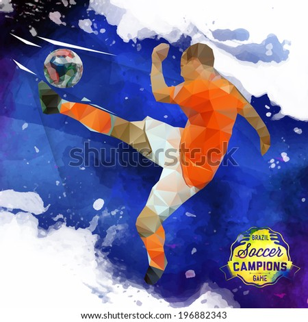 Vector concept of soccer player with watercolor background and geometric figures combination of blue and white colors.  Creative football design with labels for you. Label separate from background.