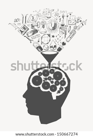 Vector concept of the child receiving the knowledge - stock vector