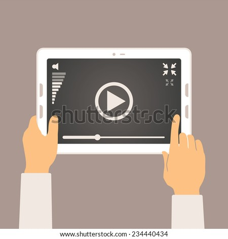 Vector concept of video player mobile application on tablet pc