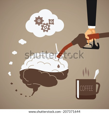 Vector concept of vigorous mind with coffee or caffeine - stock vector