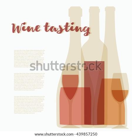 Vector concept of wine tasting for bar or restaurant. Elegant wine tasting illustration with glasses and bottle for winery - stock vector