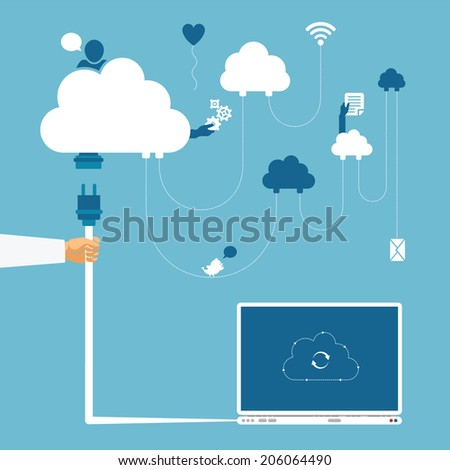 Vector concept of wireless cloud network and distributed computing - stock vector