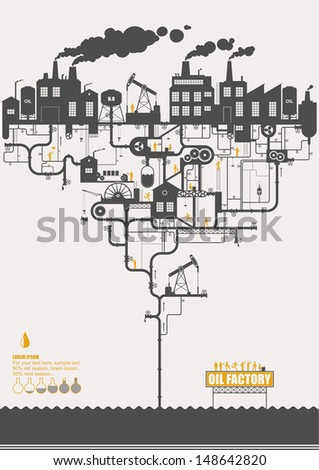 Vector concept - oil factory ( info graphic ) - stock vector