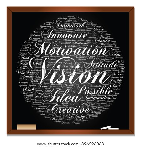 Vector concept or conceptual abstract creative business word cloud on black blackboard, metaphor to teamwork, innovation, possible, creativity, leadership, management, successful, corporate, strategy