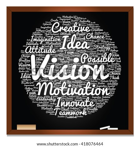 Vector concept or conceptual abstract creative business word cloud on black blackboard, metaphor to teamwork, innovation, possible, creativity, leadership, management, successful, corporate, strategy - stock vector