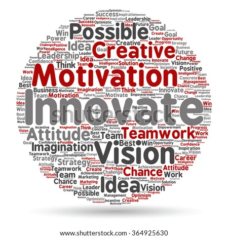 Vector concept or conceptual abstract creative business word cloud on white background, metaphor to teamwork, innovation, possible, creativity, leadership, management, successful, corporate, strategy - stock vector