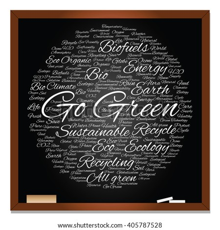 Vector concept or conceptual abstract green ecology, conservation word cloud text, blackboard background, metaphor to environment, recycle, earth, alternative, protection, energy, eco friendly or bio