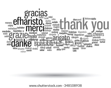 Vector concept or conceptual abstract thank you word cloud, different languages or multilingual for education or thanksgiving day, metaphor to appreciation, multicultural, friendship, tourism travel