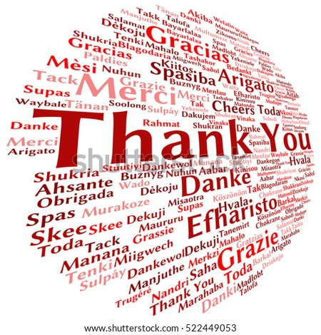 Vector concept or conceptual abstract thank you word cloud in different languages or multilingual for education or Thanksgiving Day metaphor to appreciation, multicultural, friendship, tourism travel