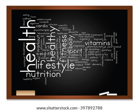 Vector concept or conceptual abstract word cloud on blackboard background, metaphor to health, nutrition, diet, wellness, body, energy, medical, fitness, medical, gym, medicine, sport, heart science