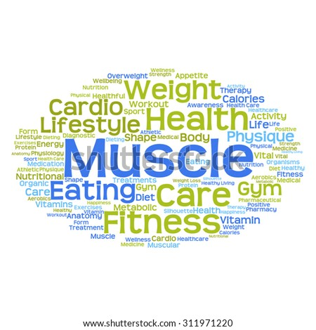 Vector concept or conceptual abstract word cloud on white background as metaphor for health, nutrition, diet, wellness, body, energy, medical, fitness, medical, gym, medicine, sport, heart or science - stock vector