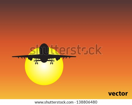 Vector concept or conceptual black plane,airplane aircraft silhouette flying over sky at sunset,sunrise background,metaphor to air,travel,transportation,jet,flight,transport,business,vacation,tourism - stock vector