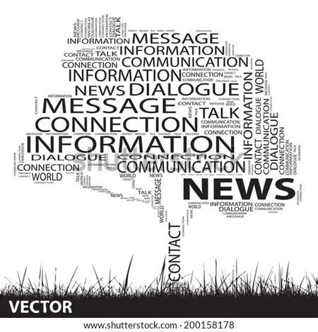 Vector concept or conceptual black tree and grass word cloud on white background, for communication, message, mail, relation, dialog, talk, report, contact, stair, climb, email, internet wordcloud - stock vector