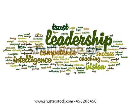 Vector concept or conceptual business leadership, management value word cloud isolated on background - stock vector